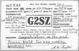 Cecil Goyder's (G2SL) QSL card
